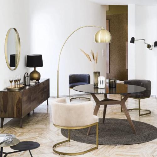 decoration petit prix maisons du monde soldes 2021 table salle a manger ronde en verre et acacia