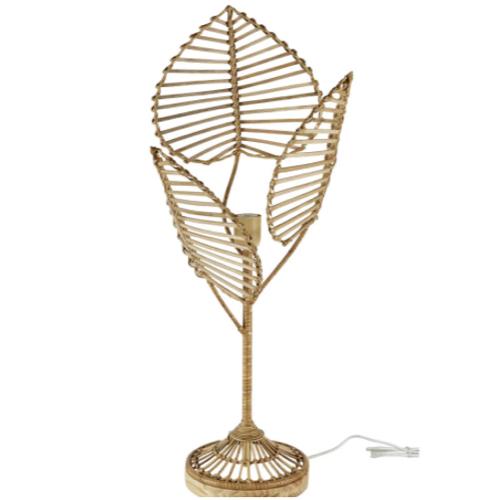 decoration petit prix maisons du monde soldes 2021 lampe à poser naturelle rotin motif végétal