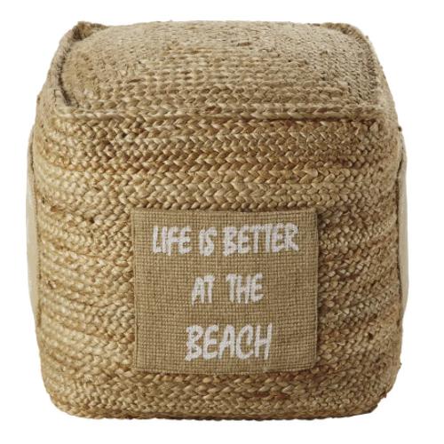 decoration petit prix maisons du monde soldes 2021 pouf en fibre naturelle tressee ambiance bord de mer