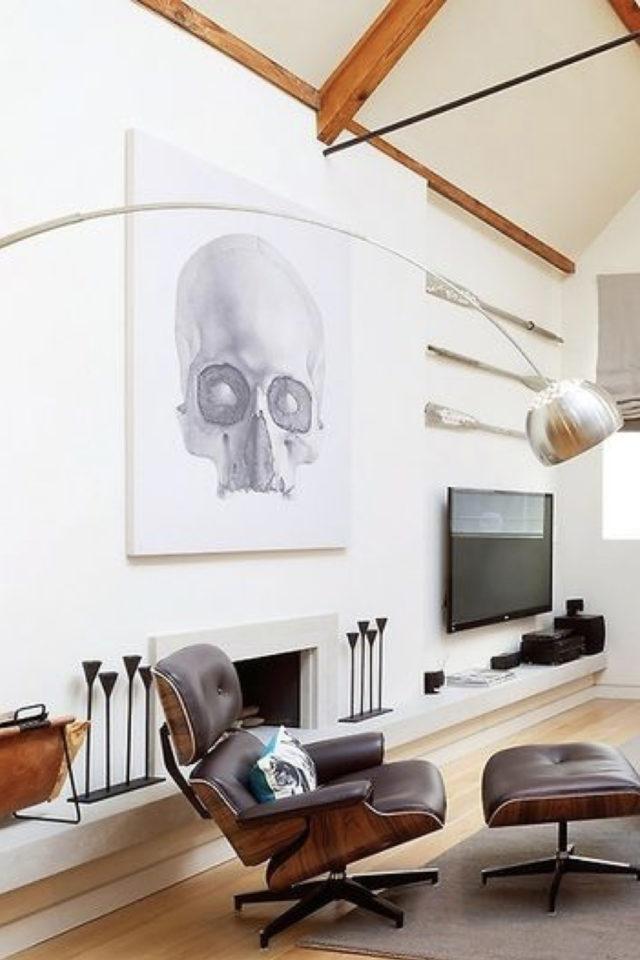 decoration rock grande affiche tête de mort en noir et blanc salon