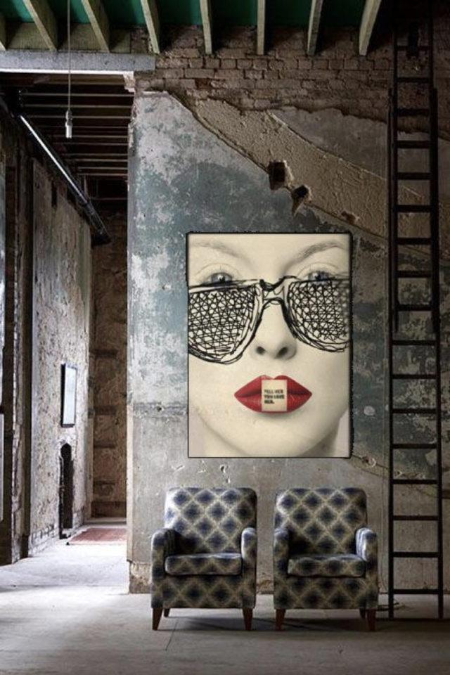 decoration rock style loft industriel effet grunge et grand tableau