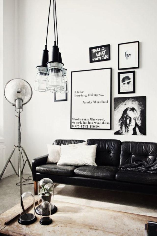 decoration rock noir et blanc salon canapé cuir, lampe industrielle et deco murale