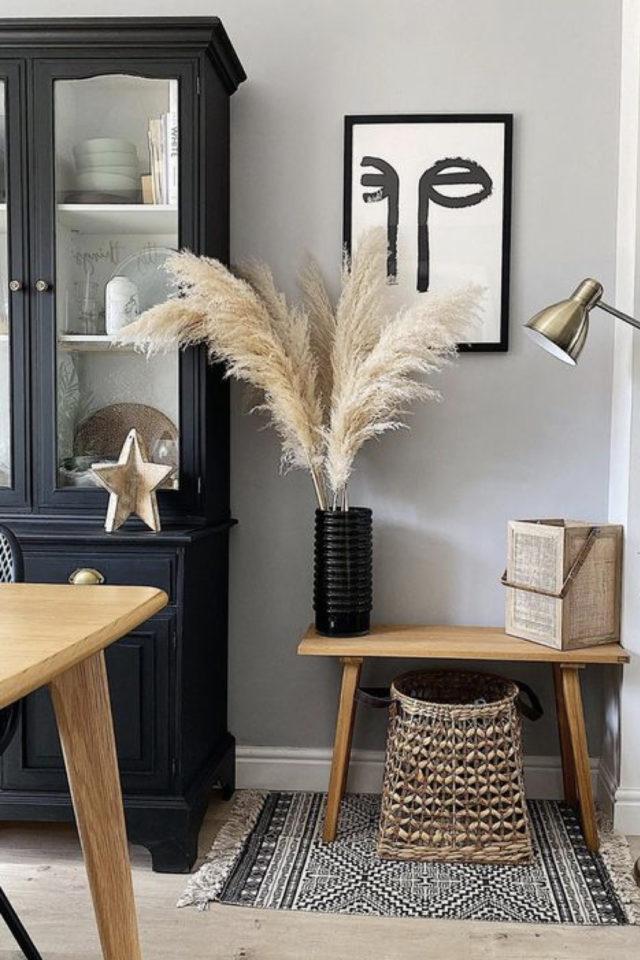 idee deco a copier gris style cosy et familial entrée salon séjour meuble en bois naturel