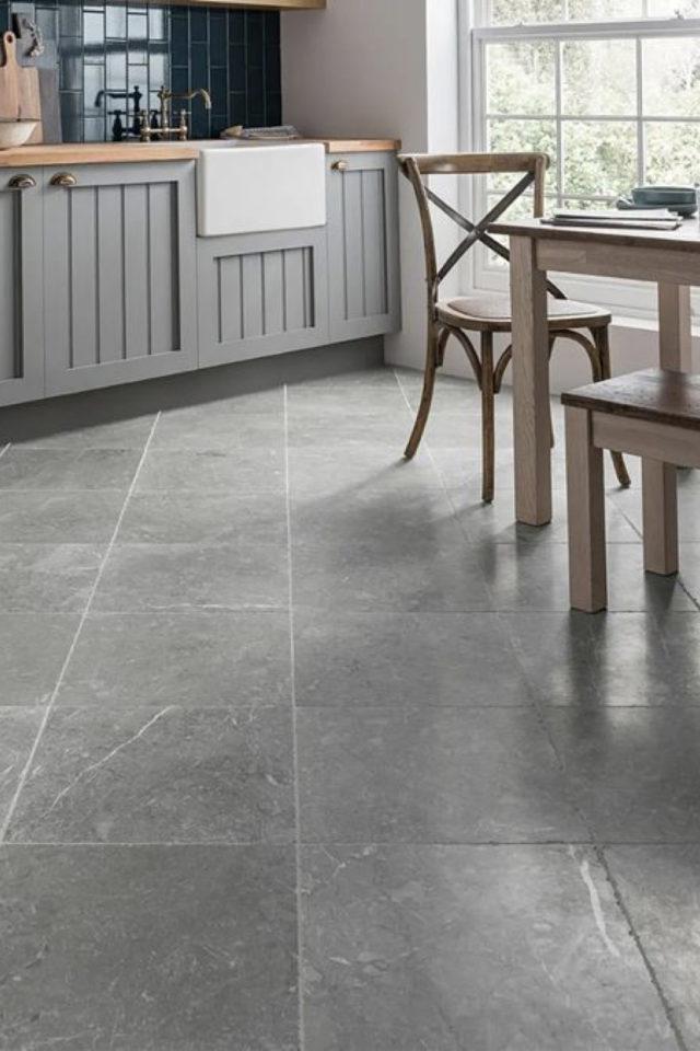 idee deco a copier gris carrelage sol cuisine salle à manger