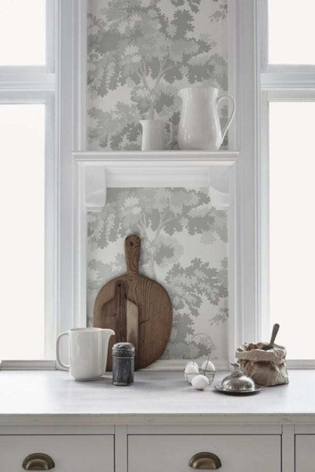 idee deco a copier gris papier peint cuisine gris clair ambiance classique chic