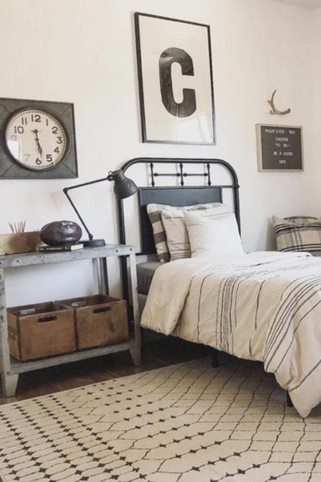 lit metal vintage deco chambre ado exemple lampe bureau architecte ambiance brocante récup classique