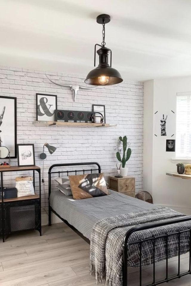 lit metal vintage deco chambre ado exemple idée décoration