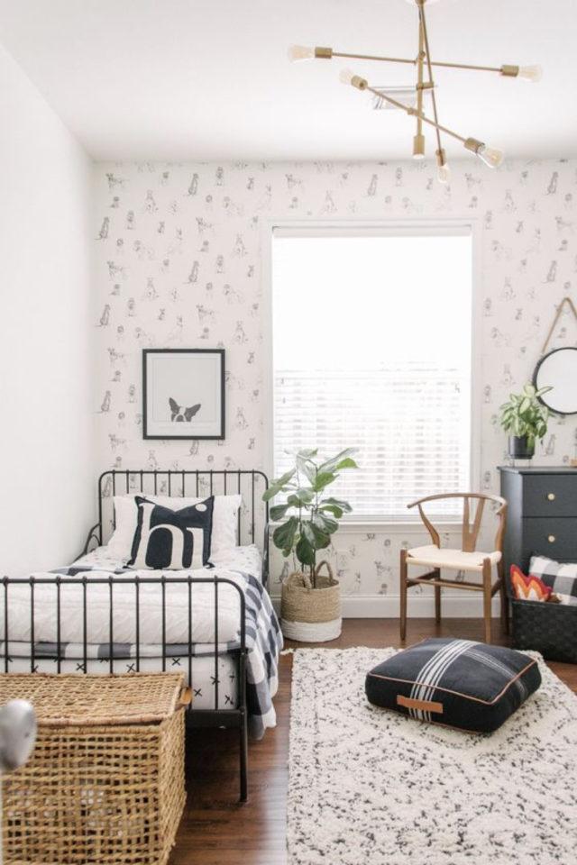 lit metal vintage deco chambre ado exemple papier peint lumineux petite chambre