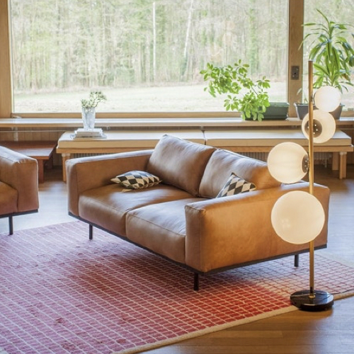 ou trouver canape cuir confortable style moderne dossier bas accoudoir piètement métal