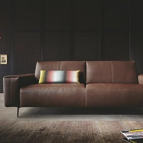 ou trouver canape cuir confortable sofa couleur marron style épuré