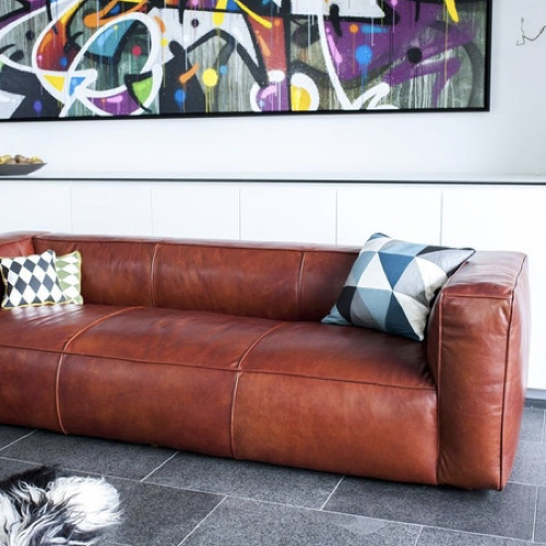 ou trouver canape cuir confortable 3 à 4 places couleur naturel dossier bas