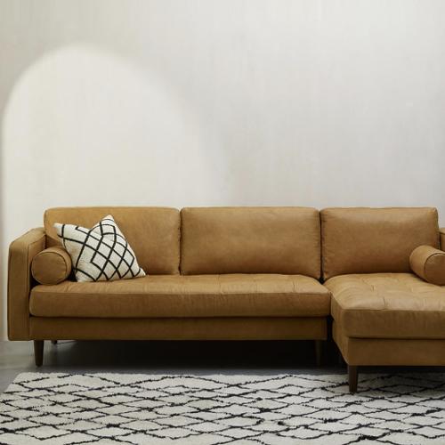 ou trouver canape cuir moderne épuré et agréable couleur camel