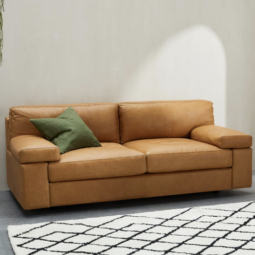 ou trouver canape cuir moderne couleur camel naturel gros coussin confortable