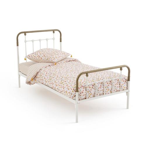 ou trouver lit enfant metal bicolore blanc et laiton élégant