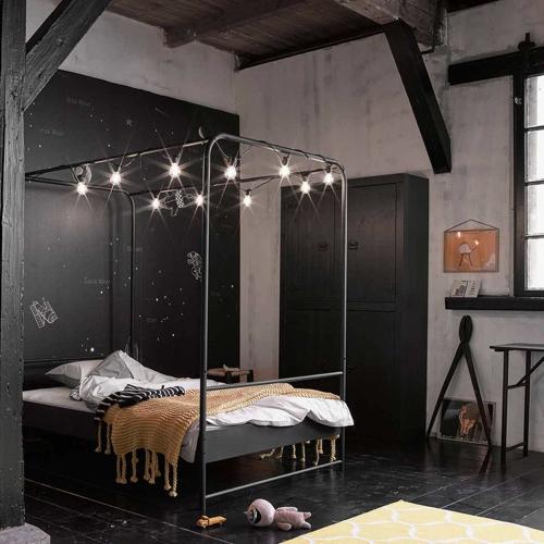 ou trouver lit enfant metal à baldaquin gris anthracite