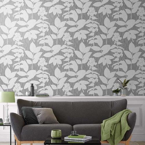 ou trouver papier peint gris a motif fleur blanche moderne