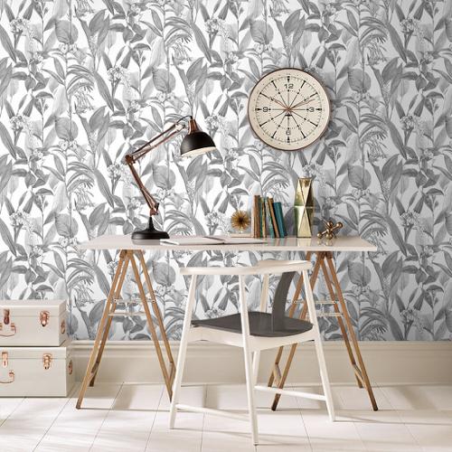 ou trouver papier peint gris a motif tropical