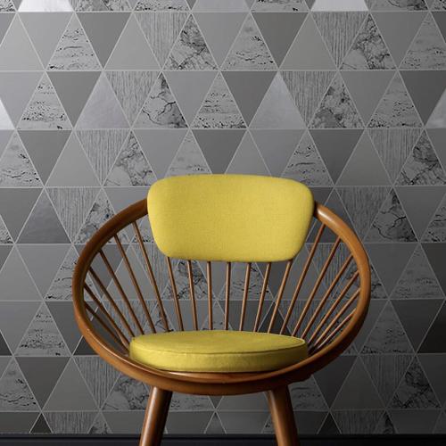 ou trouver papier peint gris a motif triangle scandinave moderne