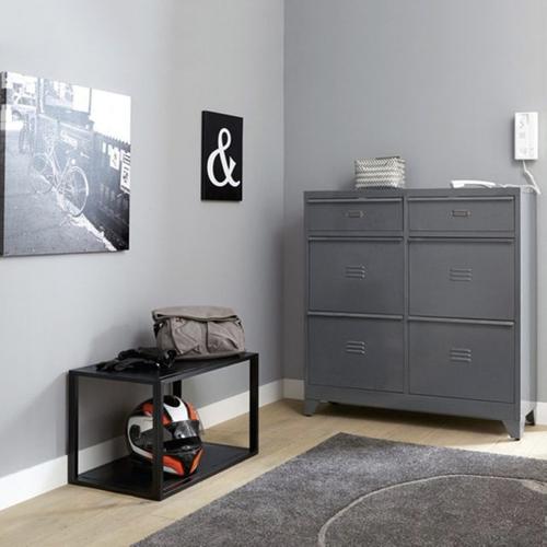 ou trouver petit meuble chaussure pas cher rangement style industriel gris déco