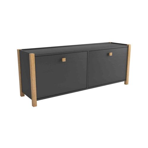 ou trouver petit meuble chaussure pas cher banc rangement 2 portes gris et bois