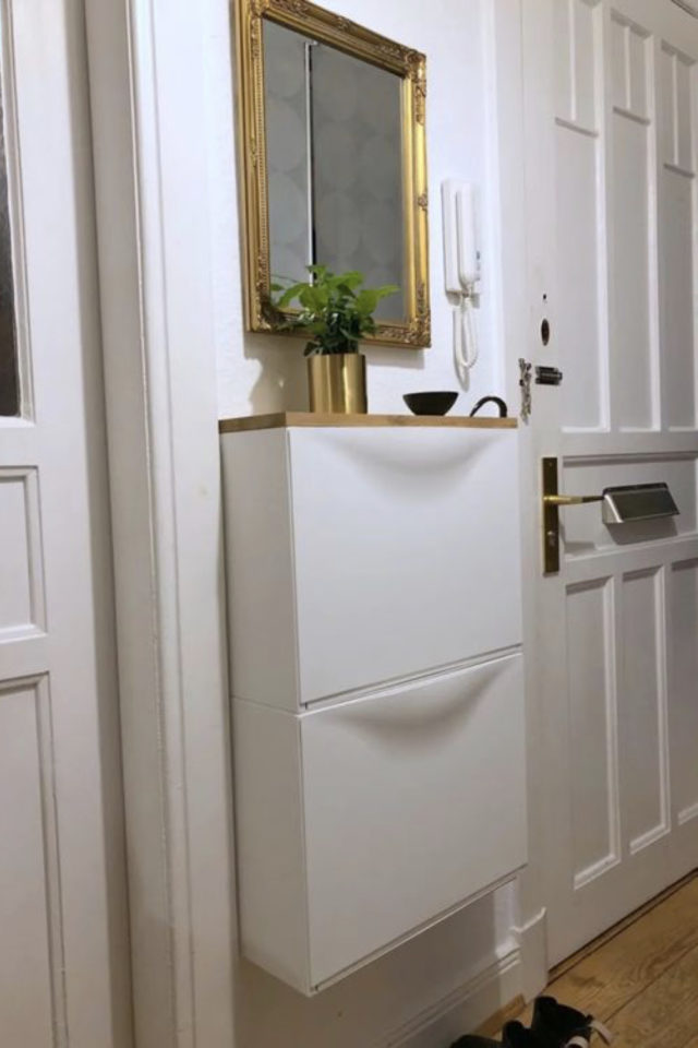 petite entree meuble a chaussure exemple rangement mural gain de place optimal miroir ancien