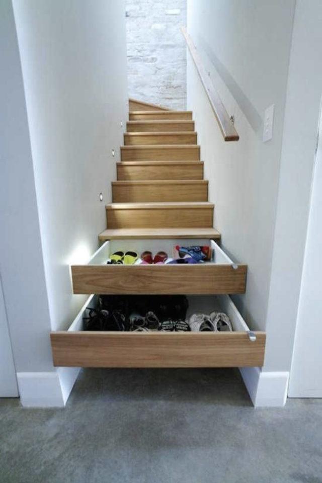 quels espaces amenager pour gagner place rangement dans les marches d'escaliers