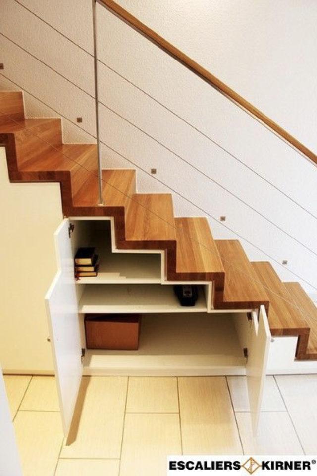 quels espaces amenager pour gagner place rangement dans les marches d'escaliers exemple