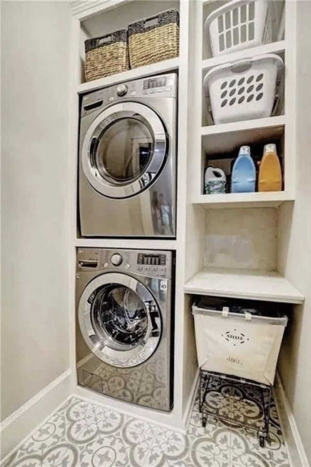 quels espaces amenager pour gagner place petit logement buanderie machine a laver et seche linge en colonne
