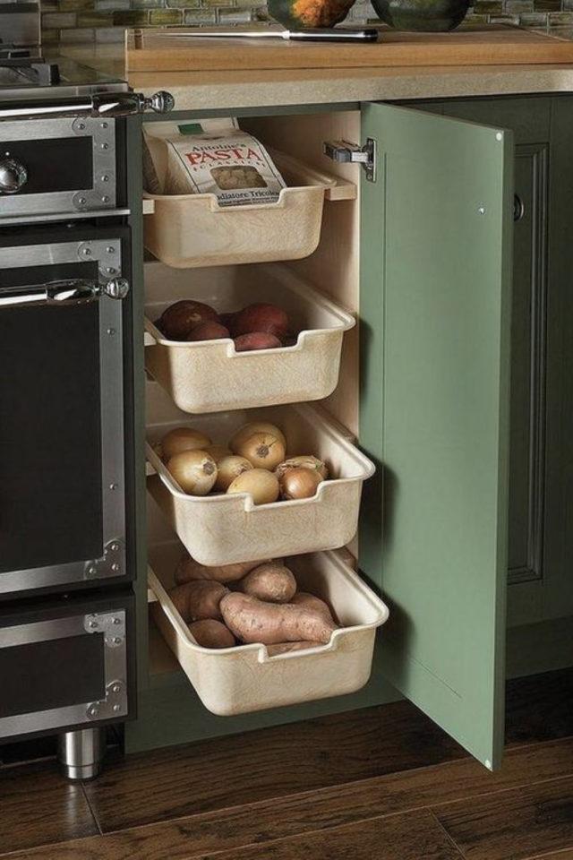 quels espaces amenager pour gagner place tiroir coulissant meuble bas cuisine