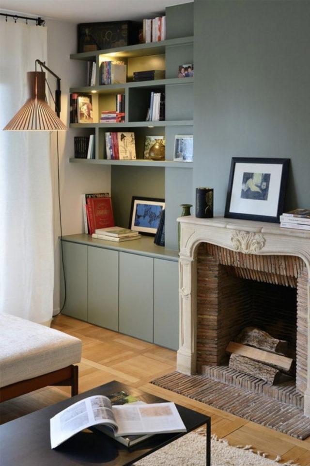 quels espaces amenager pour gagner place cheminée aménagement rangement bibliothèque