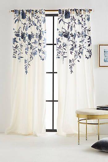 rideaux a motif fleur blanc et bleu
