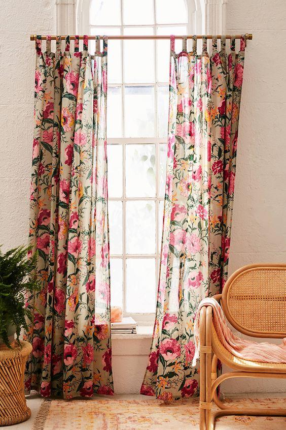 rideaux a motif fleur voilage boheme moderne