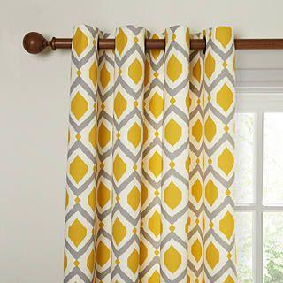 rideaux a motif geometrique jaune blanc et gris losange