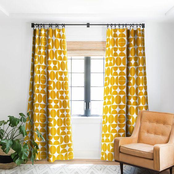 rideaux a motif geometrique style année 70 rétro vintage jaune