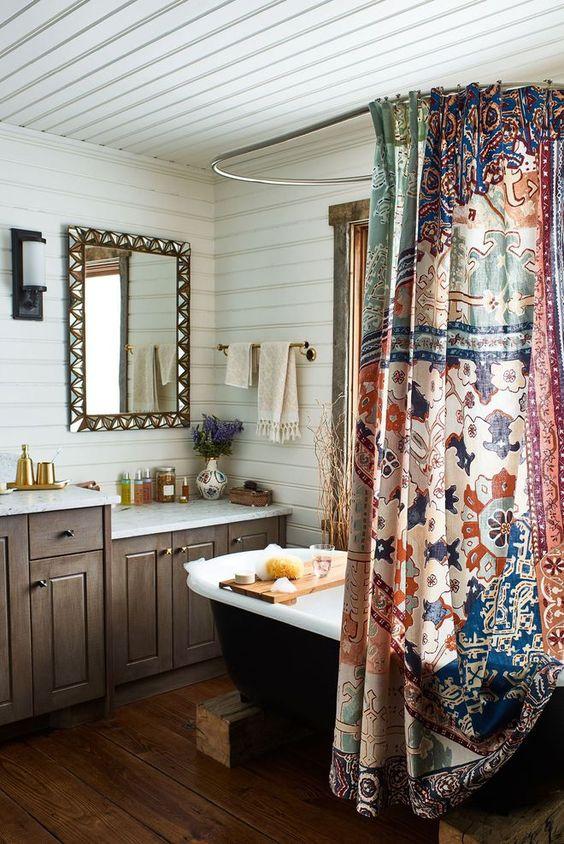 rideaux a motif style hippie douche fleurs couleur années 70