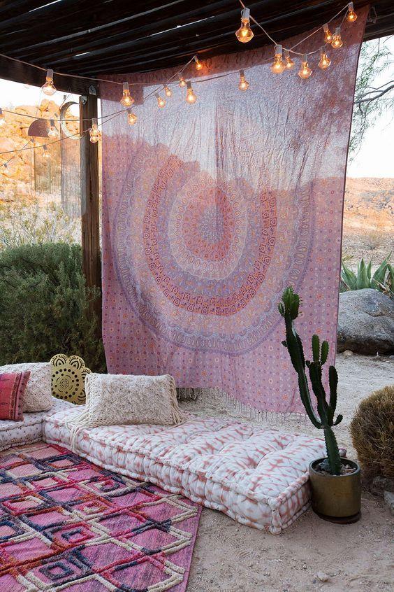 rideaux a motif style hippie tenture murale couleur