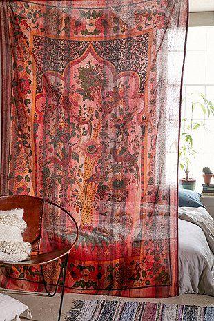 rideaux a motif style hippie tenture murale fleur rouge