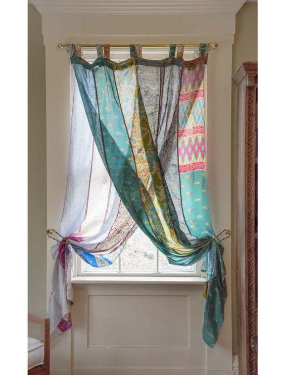 rideaux a motif style hippie entrée petite fenêtre couleur patchwork