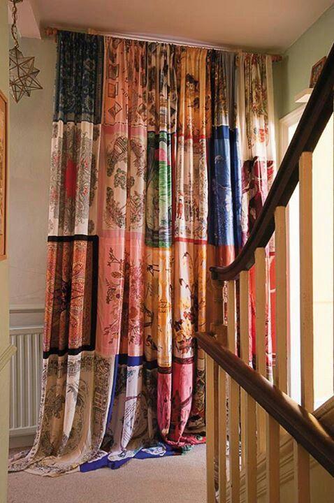 rideaux a motif style hippie patchwork couleur