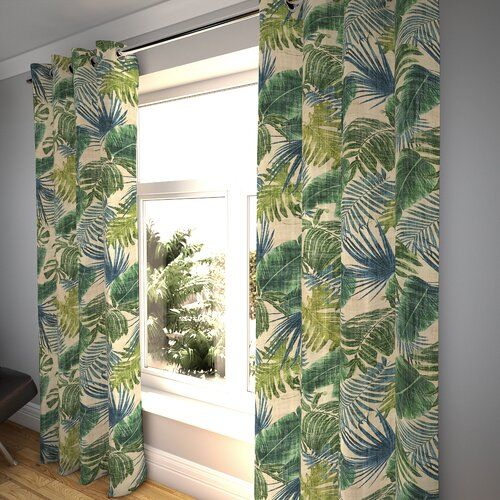 rideaux a motif vegetal tropical blanc et vert grand feuillage