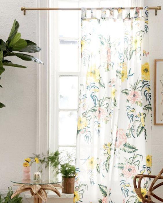 rideaux a motif vegetal tropical plantes et fleur