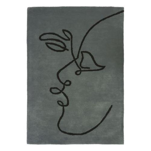 salon accessoire deco design gris visage baiser