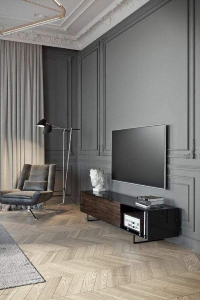 salon gris ambiance moderne exemple mélange modernité et classique