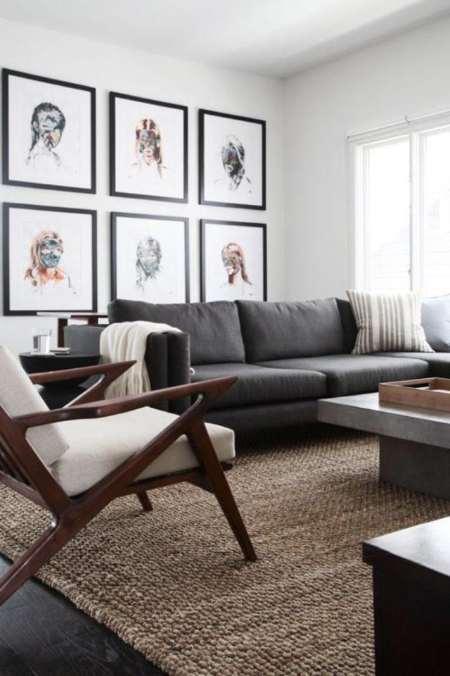 salon gris ambiance moderne exemple fauteuil mid century