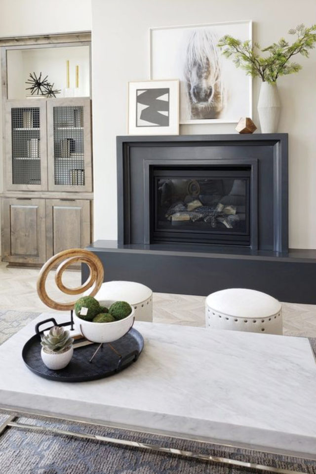 salon gris style classique chic manteau de cheminée gris anthracite peinture