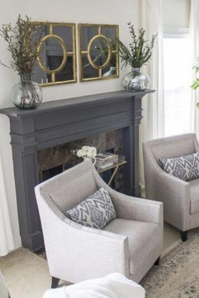 salon gris style classique chic peinture cheminée