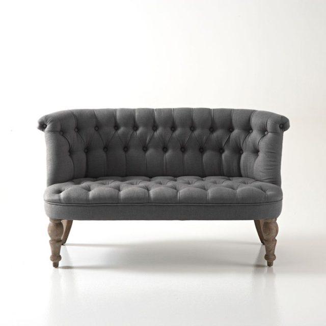 soldes hiver deco mobilier canapé capitonné en lin style classique chic élégant meubles pas cher bon plan