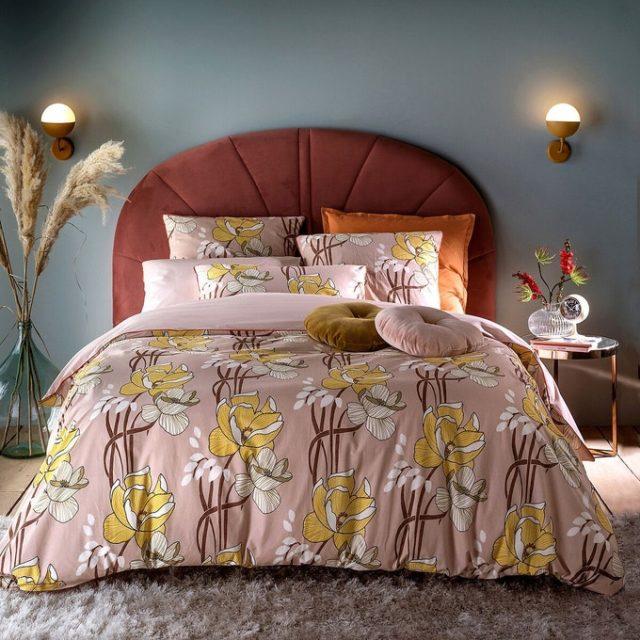 soldes hiver deco mobilier linge de lit moderne imprimé noir et blanc bon plan pas cher décoration chambre adulte pas cher parure de lit imprimé moderne