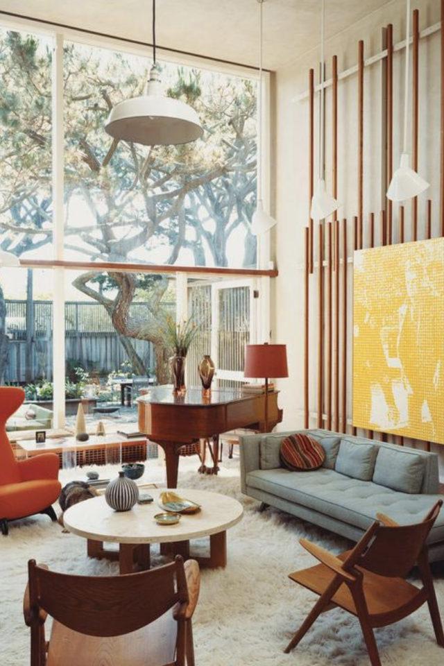style mid century decoration couleur utilisation bois couleurs jaune bleu rouge intérieur rétro vintage