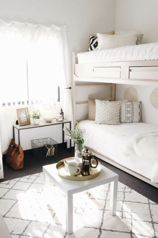 amenagement chambre etudiant exemple lips superposé gain de place petit appartement couple étudiant